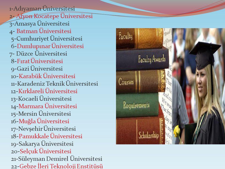 1-Adıyaman Üniversitesi 2- Afyon Kocatepe Üniversitesi 3-Amasya Üniversitesi 4- Batman Üniversitesi