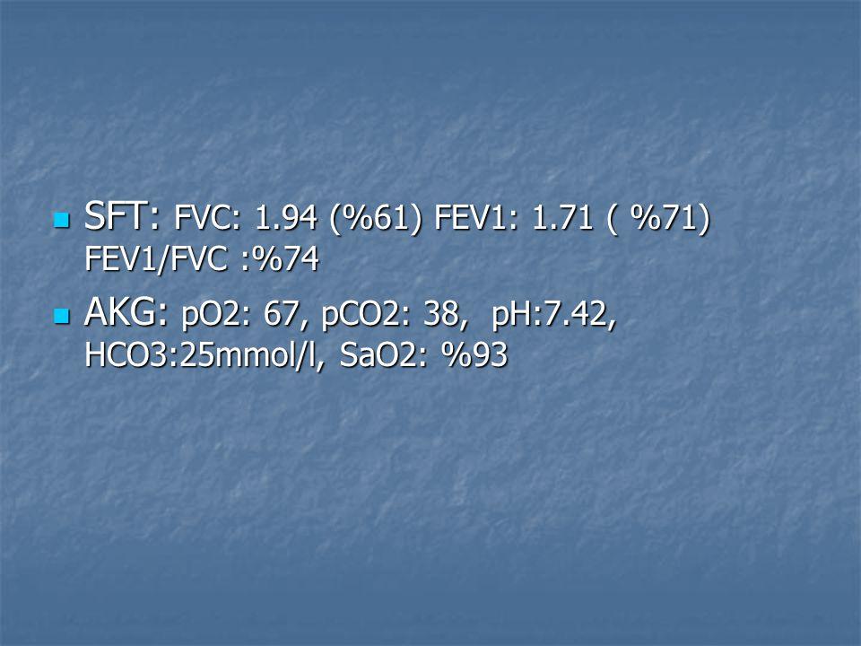 SFT: FVC: 1.94 (%61) FEV1: 1.71 ( %71) FEV1/FVC :%74