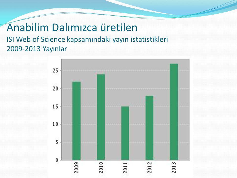 Anabilim Dalımızca üretilen ISI Web of Science kapsamındaki yayın istatistikleri 2009-2013 Yayınlar