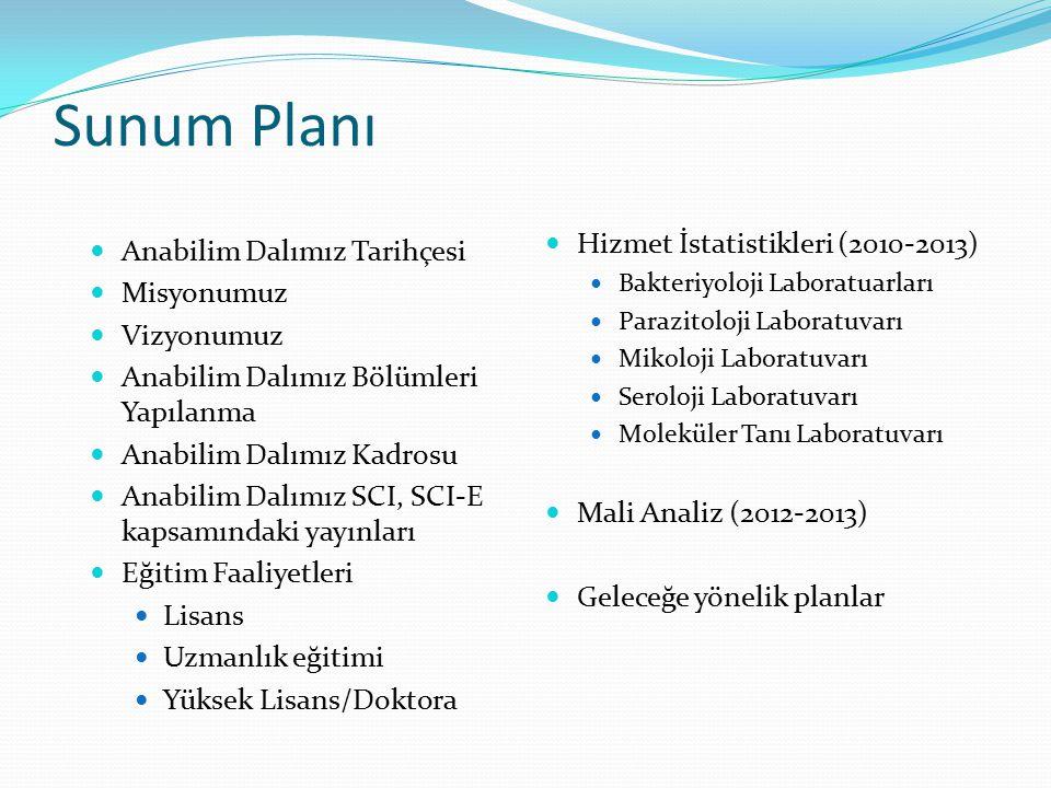 Sunum Planı Hizmet İstatistikleri (2010-2013)