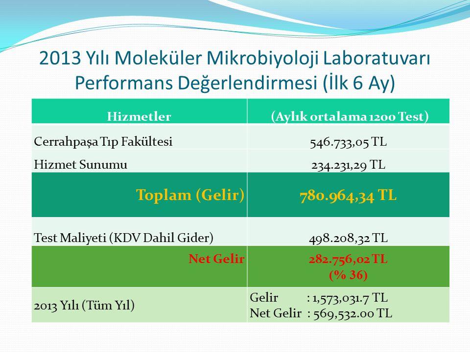 2013 Yılı Moleküler Mikrobiyoloji Laboratuvarı Performans Değerlendirmesi (İlk 6 Ay)