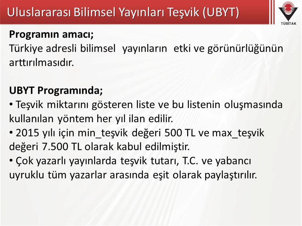 Uluslararası Bilimsel Yayınları Teşvik (UBYT)