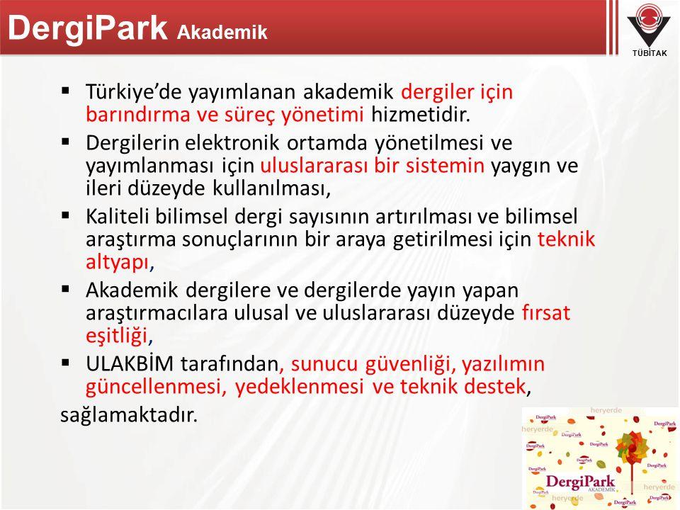 DergiPark Akademik Türkiye'de yayımlanan akademik dergiler için barındırma ve süreç yönetimi hizmetidir.