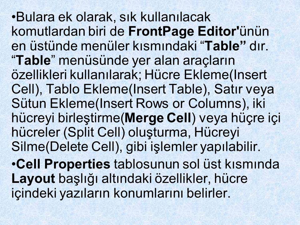 Bulara ek olarak, sık kullanılacak komutlardan biri de FrontPage Editor ünün en üstünde menüler kısmındaki Table dır. Table menüsünde yer alan araçların özellikleri kullanılarak; Hücre Ekleme(Insert Cell), Tablo Ekleme(Insert Table), Satır veya Sütun Ekleme(Insert Rows or Columns), iki hücreyi birleştirme(Merge Cell) veya hüçre içi hücreler (Split Cell) oluşturma, Hücreyi Silme(Delete Cell), gibi işlemler yapılabilir.