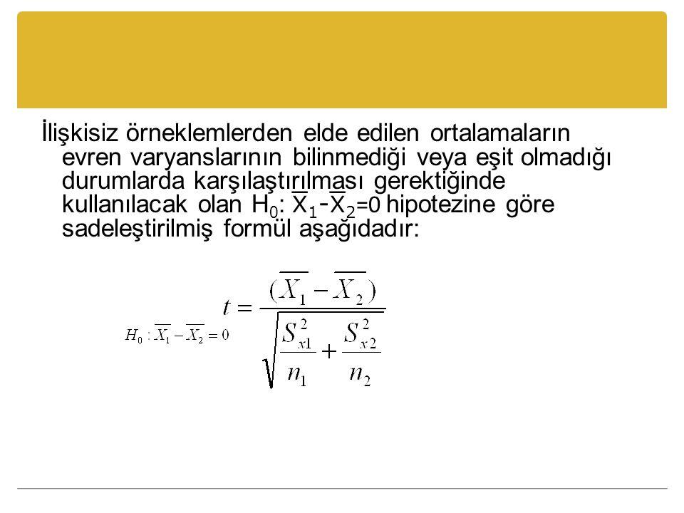 İlişkisiz örneklemlerden elde edilen ortalamaların evren varyanslarının bilinmediği veya eşit olmadığı durumlarda karşılaştırılması gerektiğinde kullanılacak olan H0: 1-2=0 hipotezine göre sadeleştirilmiş formül aşağıdadır: