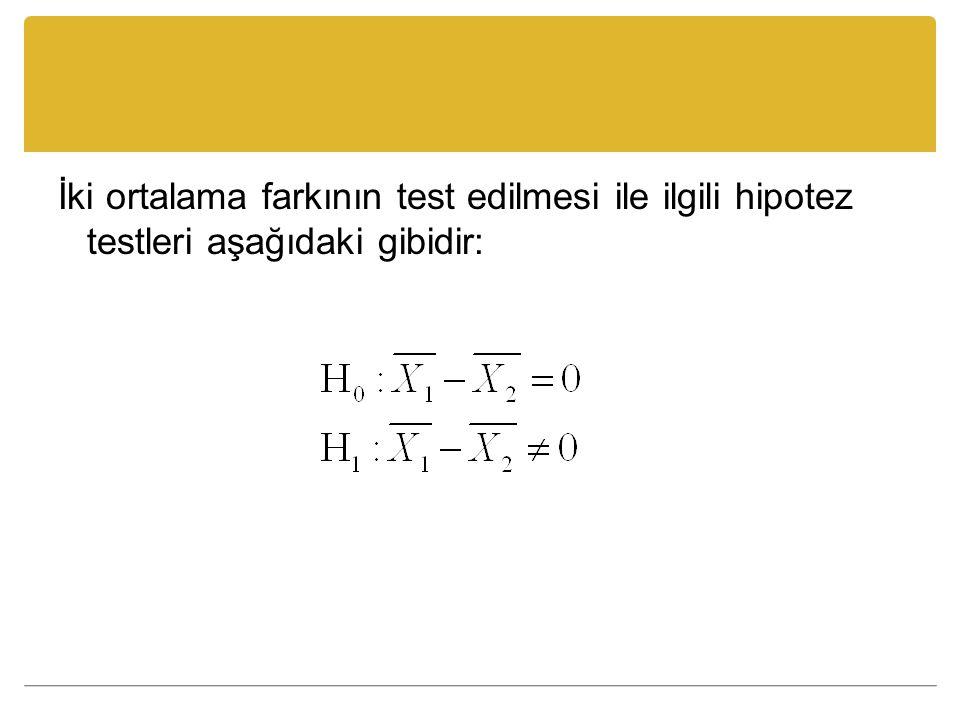 İki ortalama farkının test edilmesi ile ilgili hipotez testleri aşağıdaki gibidir: