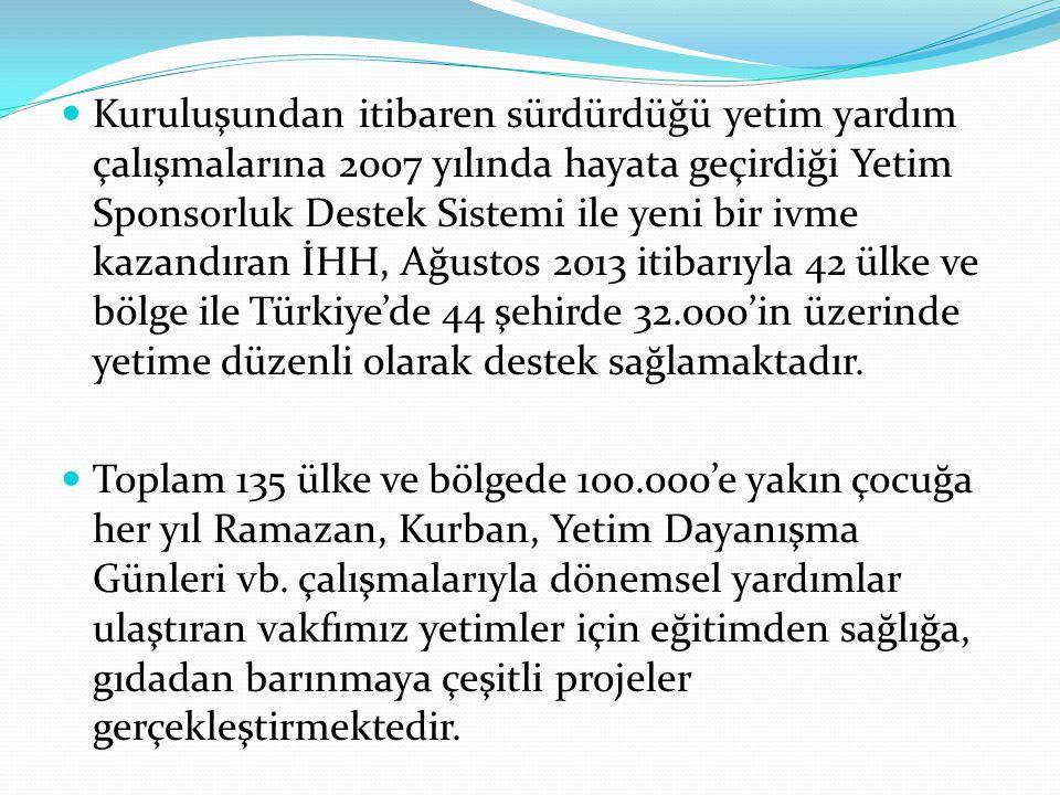 Kuruluşundan itibaren sürdürdüğü yetim yardım çalışmalarına 2007 yılında hayata geçirdiği Yetim Sponsorluk Destek Sistemi ile yeni bir ivme kazandıran İHH, Ağustos 2013 itibarıyla 42 ülke ve bölge ile Türkiye'de 44 şehirde 32.000'in üzerinde yetime düzenli olarak destek sağlamaktadır.
