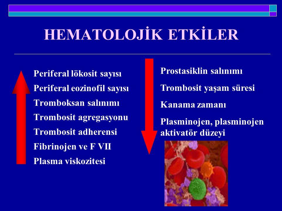 HEMATOLOJİK ETKİLER Prostasiklin salınımı Periferal lökosit sayısı