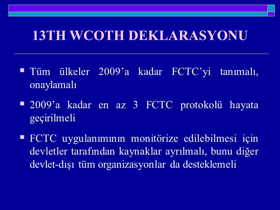 13TH WCOTH DEKLARASYONU Tüm ülkeler 2009'a kadar FCTC'yi tanımalı, onaylamalı. 2009'a kadar en az 3 FCTC protokolü hayata geçirilmeli.