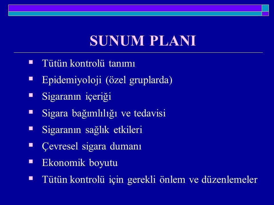 SUNUM PLANI Tütün kontrolü tanımı Epidemiyoloji (özel gruplarda)