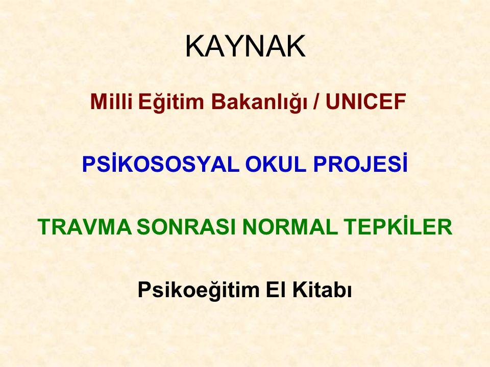 KAYNAK Milli Eğitim Bakanlığı / UNICEF PSİKOSOSYAL OKUL PROJESİ