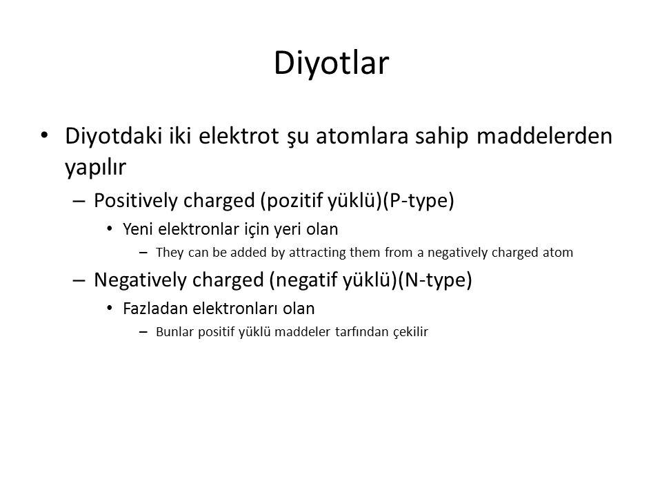 Diyotlar Diyotdaki iki elektrot şu atomlara sahip maddelerden yapılır