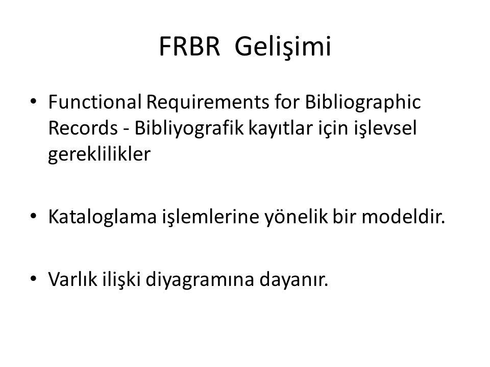 FRBR Gelişimi Functional Requirements for Bibliographic Records - Bibliyografik kayıtlar için işlevsel gereklilikler.