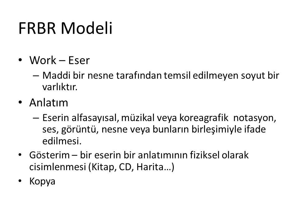 FRBR Modeli Work – Eser Anlatım