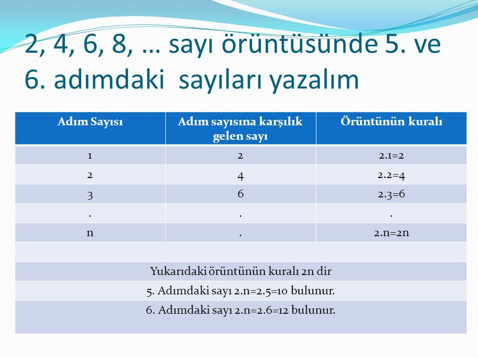 2, 4, 6, 8, … sayı örüntüsünde 5. ve 6. adımdaki sayıları yazalım