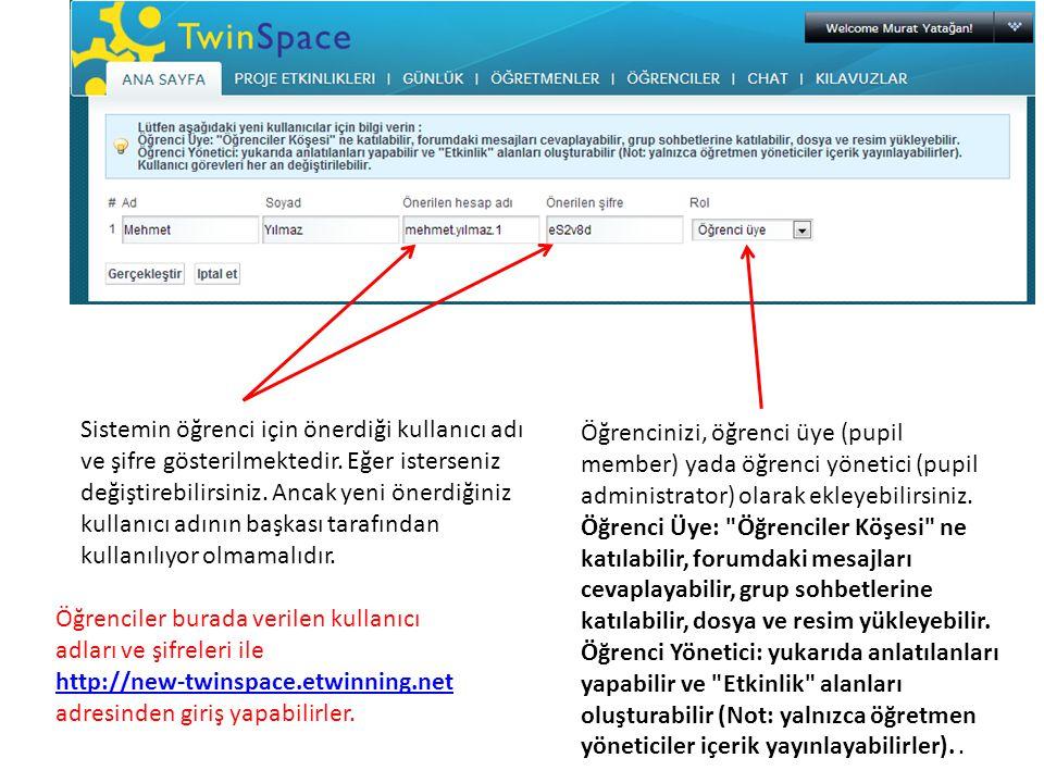 Sistemin öğrenci için önerdiği kullanıcı adı ve şifre gösterilmektedir