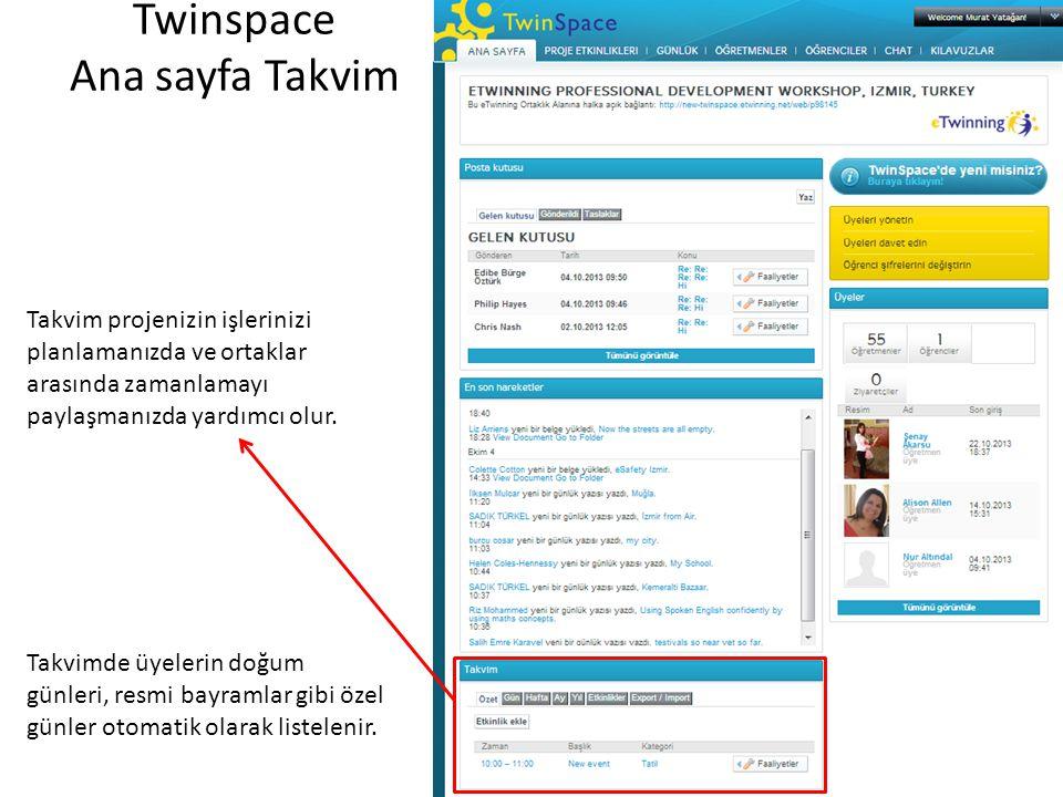 Twinspace Ana sayfa Takvim