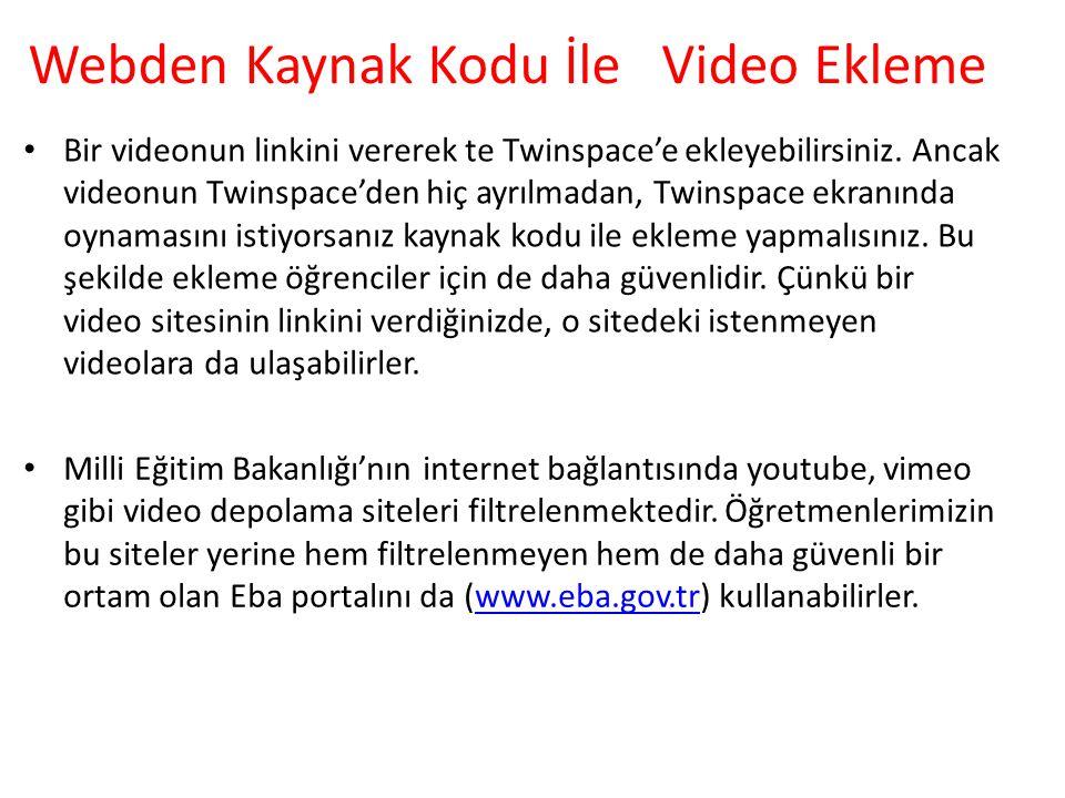 Webden Kaynak Kodu İle Video Ekleme