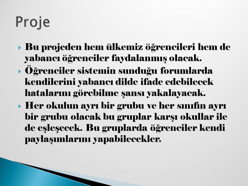 Proje Bu projeden hem ülkemiz öğrencileri hem de yabancı öğrenciler faydalanmış olacak.