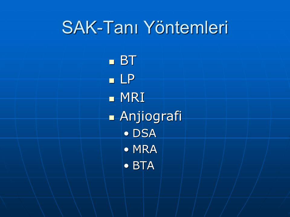 SAK-Tanı Yöntemleri BT LP MRI Anjiografi DSA MRA BTA