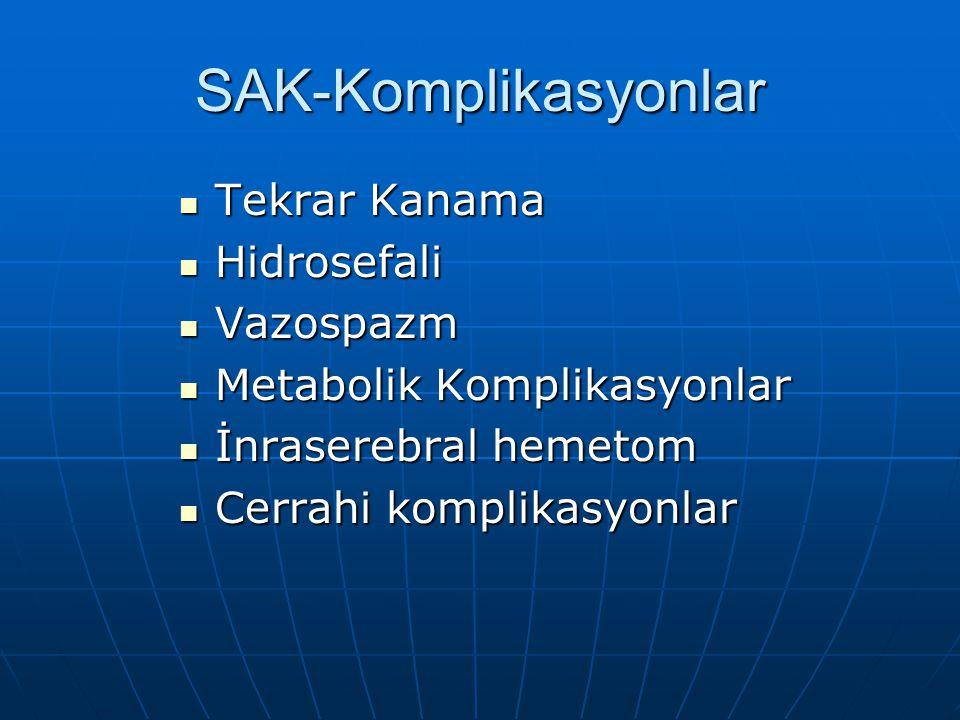 SAK-Komplikasyonlar Tekrar Kanama Hidrosefali Vazospazm