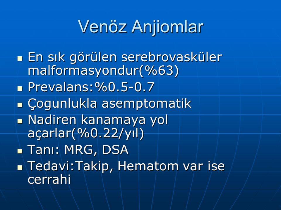 Venöz Anjiomlar En sık görülen serebrovasküler malformasyondur(%63)