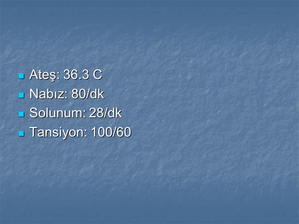 Ateş: 36.3 C Nabız: 80/dk Solunum: 28/dk Tansiyon: 100/60