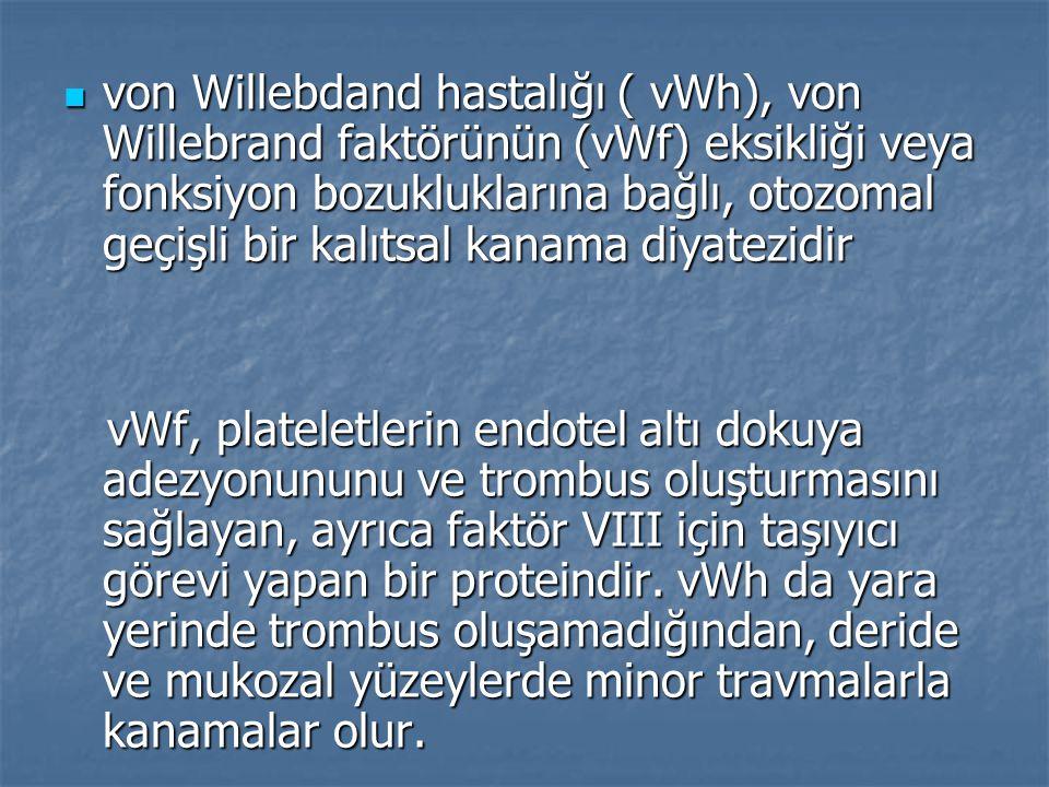 von Willebdand hastalığı ( vWh), von Willebrand faktörünün (vWf) eksikliği veya fonksiyon bozukluklarına bağlı, otozomal geçişli bir kalıtsal kanama diyatezidir