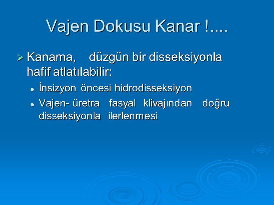 Vajen Dokusu Kanar !.... Kanama, düzgün bir disseksiyonla hafif atlatılabilir: İnsizyon öncesi hidrodisseksiyon.