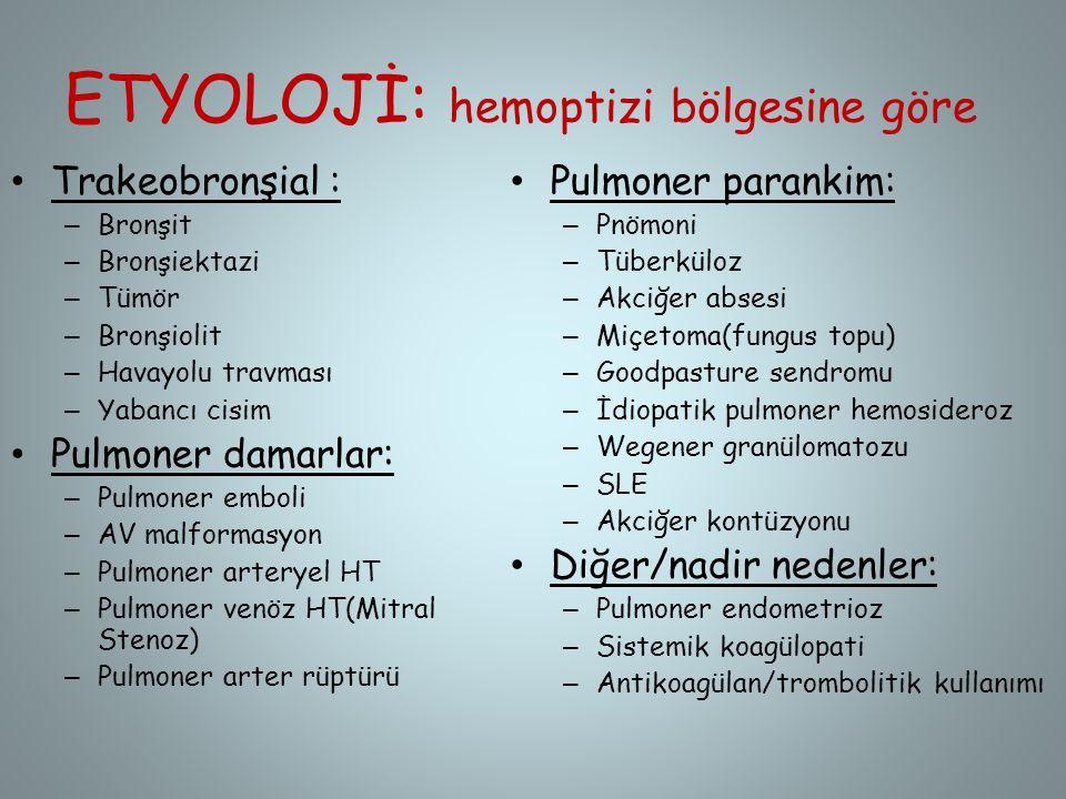 ETYOLOJİ: hemoptizi bölgesine göre