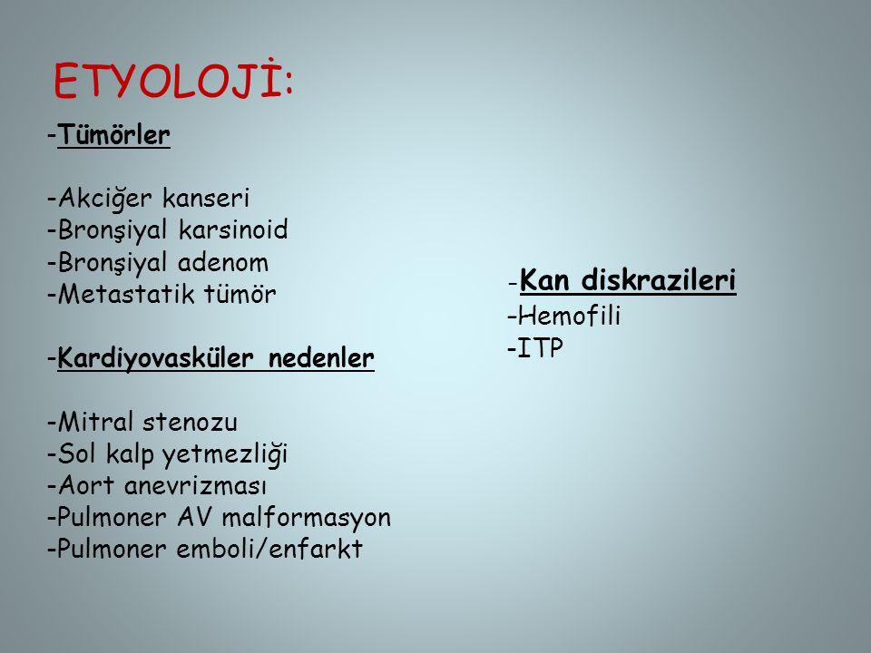 ETYOLOJİ: -Hemofili -Tümörler -Akciğer kanseri -Bronşiyal karsinoid