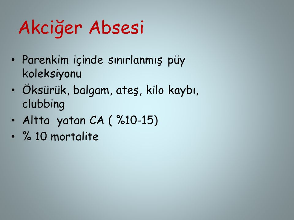 Akciğer Absesi Parenkim içinde sınırlanmış püy koleksiyonu