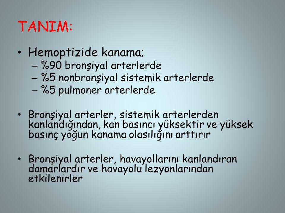TANIM: Hemoptizide kanama; %90 bronşiyal arterlerde