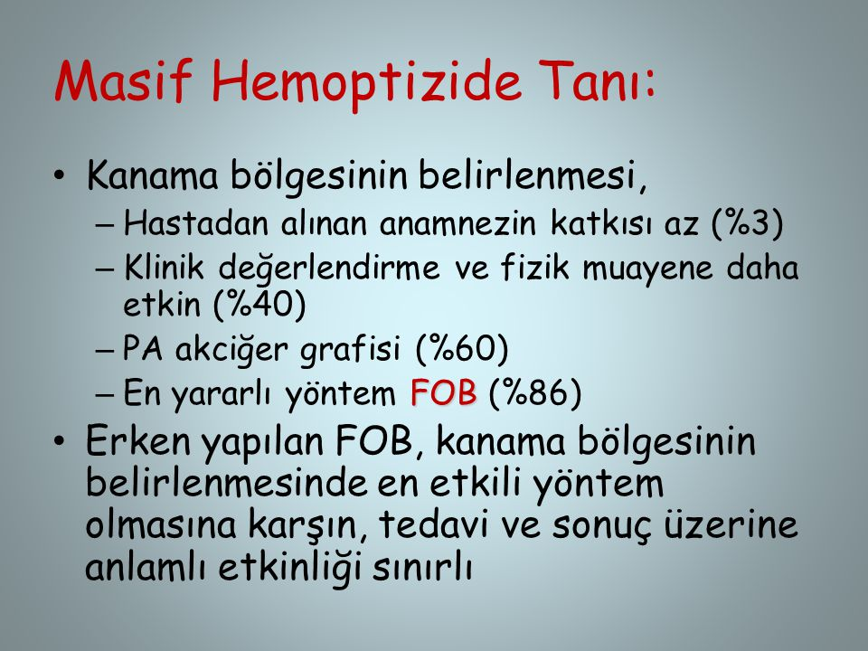 Masif Hemoptizide Tanı:
