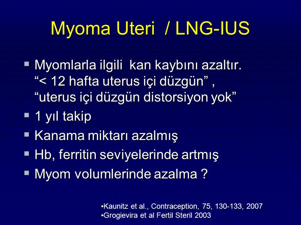 Myoma Uteri / LNG-IUS Myomlarla ilgili kan kaybını azaltır. < 12 hafta uterus içi düzgün , uterus içi düzgün distorsiyon yok