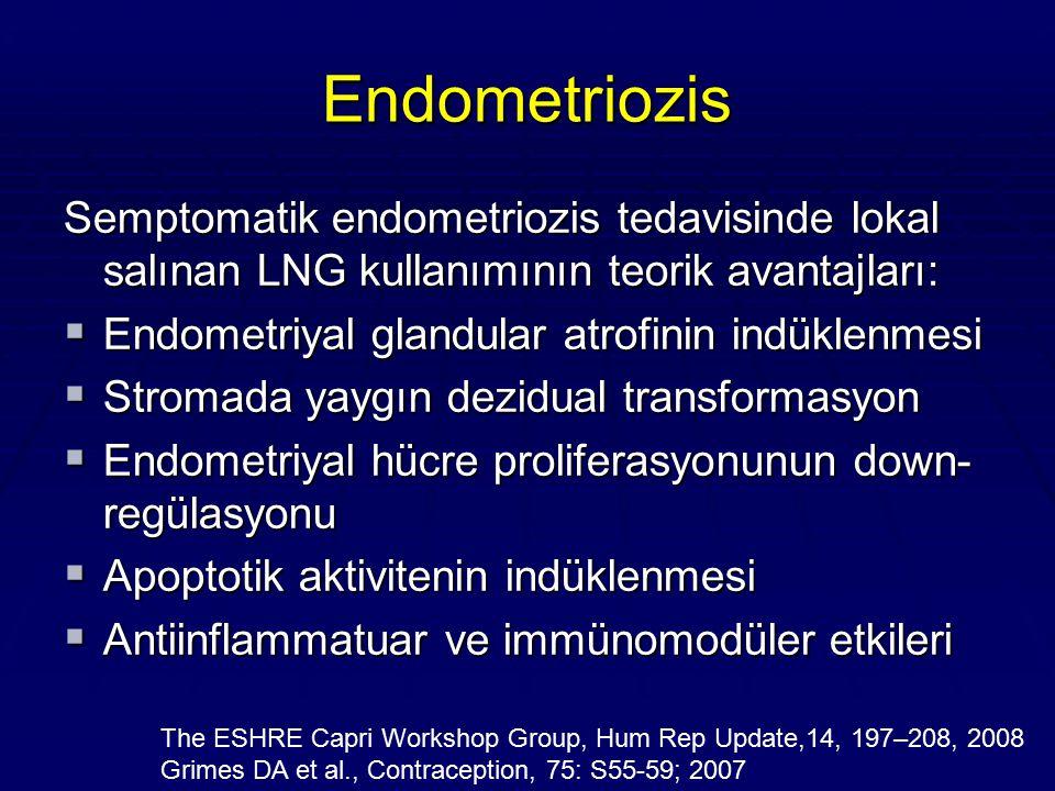 Endometriozis Semptomatik endometriozis tedavisinde lokal salınan LNG kullanımının teorik avantajları: