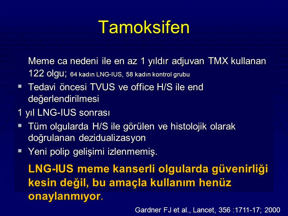 Tamoksifen Meme ca nedeni ile en az 1 yıldır adjuvan TMX kullanan 122 olgu; 64 kadın LNG-IUS, 58 kadın kontrol grubu.