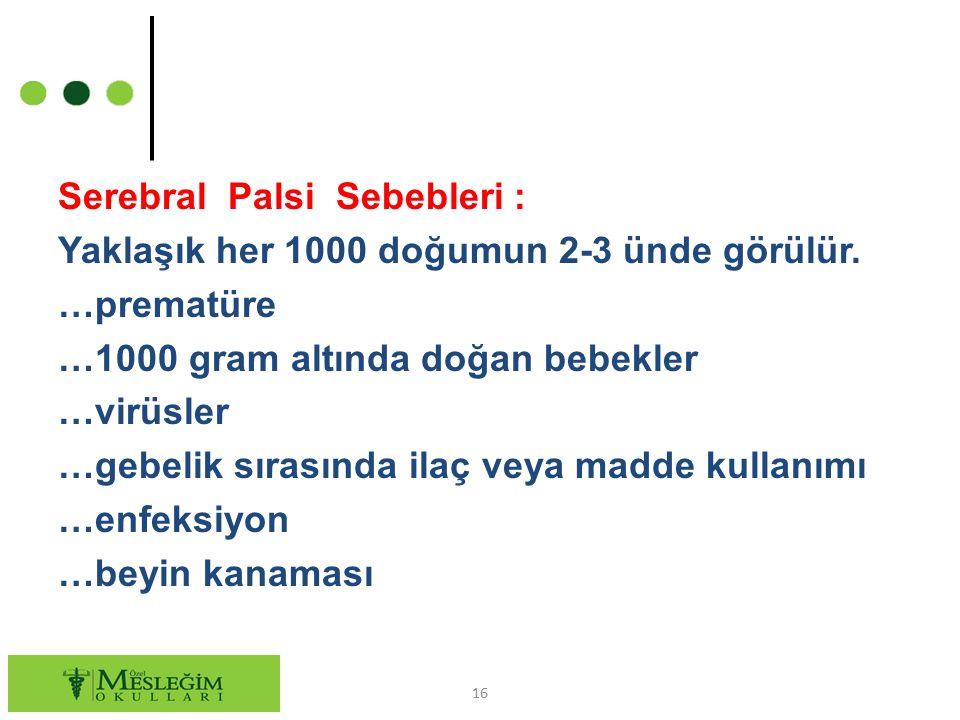 Serebral Palsi Sebebleri : Yaklaşık her 1000 doğumun 2-3 ünde görülür