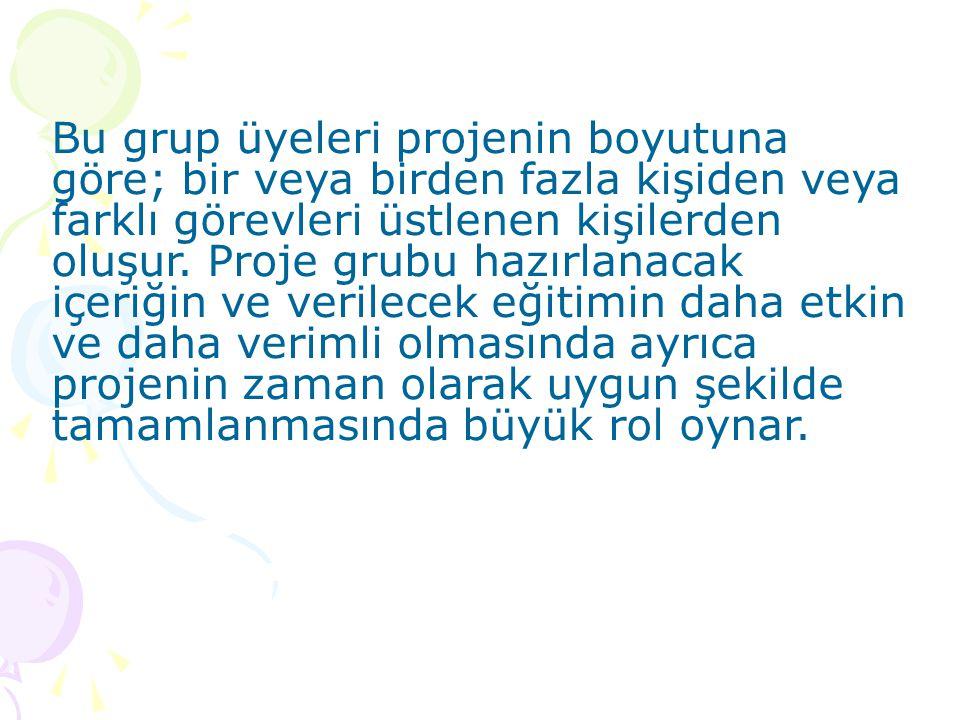 Bu grup üyeleri projenin boyutuna göre; bir veya birden fazla kişiden veya farklı görevleri üstlenen kişilerden oluşur.
