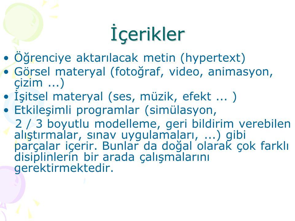 İçerikler Öğrenciye aktarılacak metin (hypertext)
