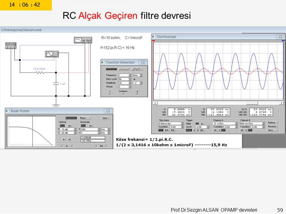 RC Alçak Geçiren filtre devresi