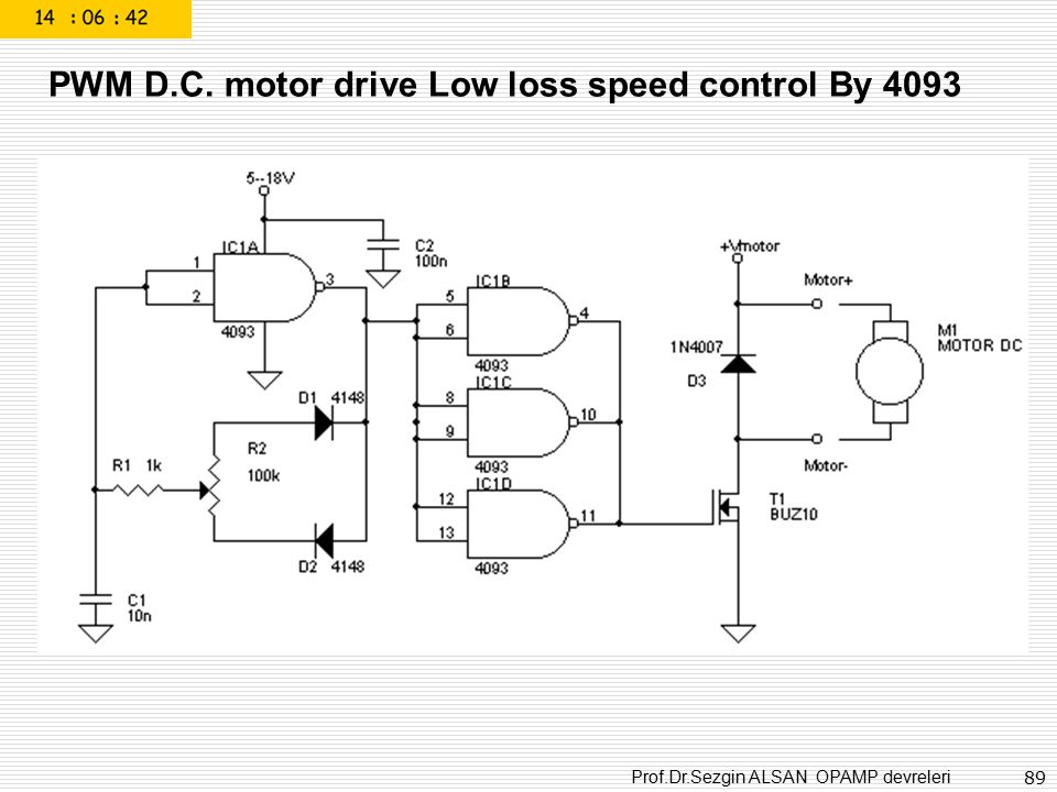 PWM D.C. motor drive Low loss speed control By 4093