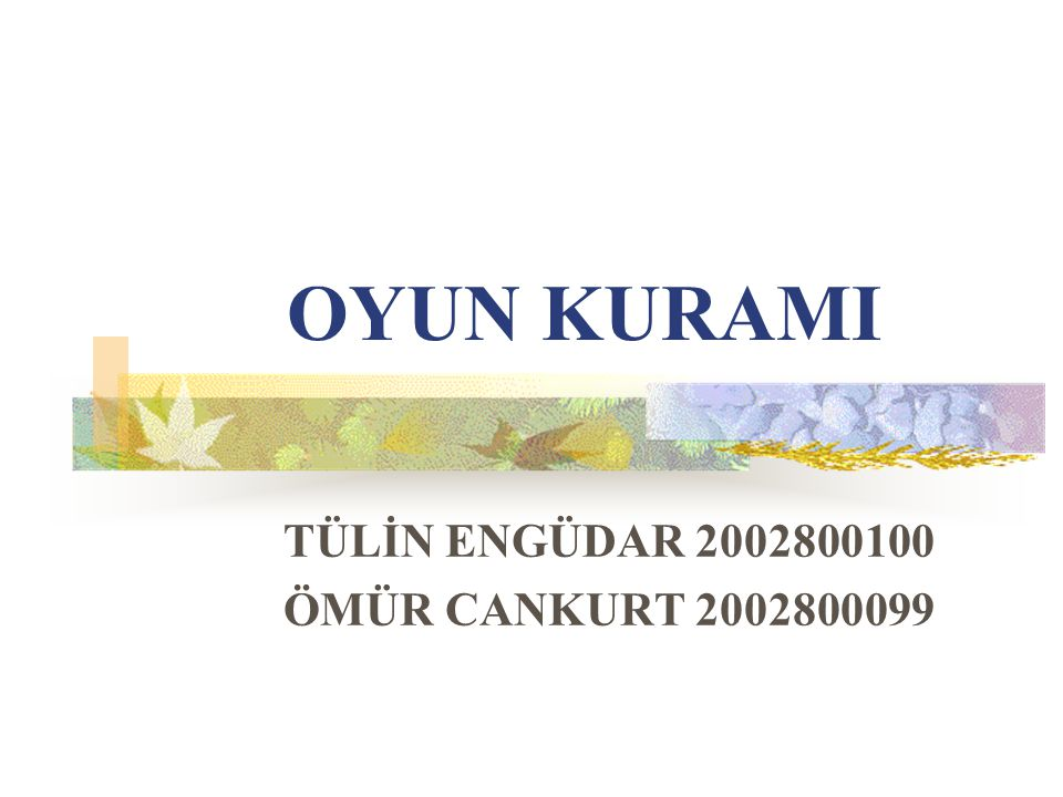 TÜLİN ENGÜDAR 2002800100 ÖMÜR CANKURT 2002800099