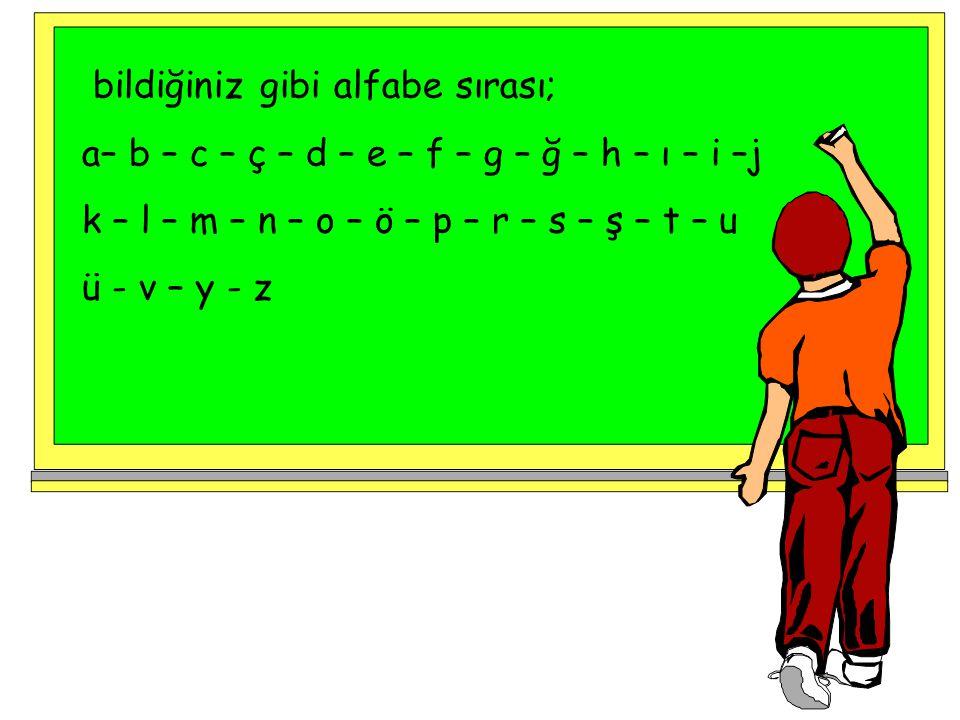 bildiğiniz gibi alfabe sırası;