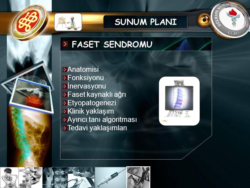 SUNUM PLANI FASET SENDROMU Anatomisi Fonksiyonu İnervasyonu