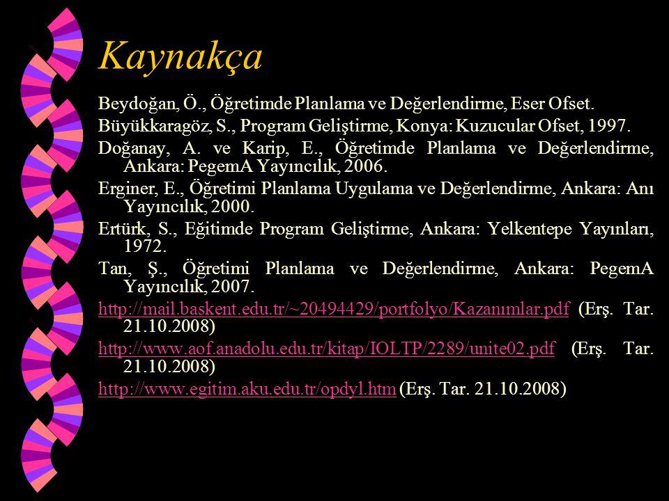 Kaynakça Beydoğan, Ö., Öğretimde Planlama ve Değerlendirme, Eser Ofset. Büyükkaragöz, S., Program Geliştirme, Konya: Kuzucular Ofset, 1997.