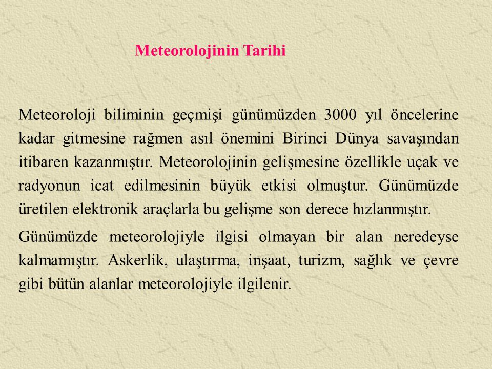 Meteorolojinin Tarihi