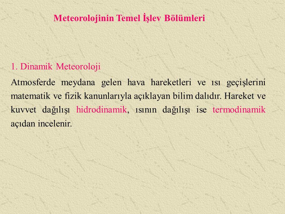 Meteorolojinin Temel İşlev Bölümleri