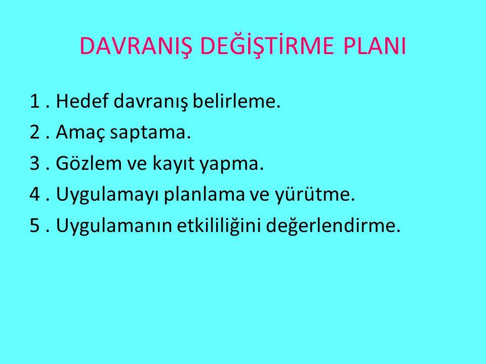 DAVRANIŞ DEĞİŞTİRME PLANI
