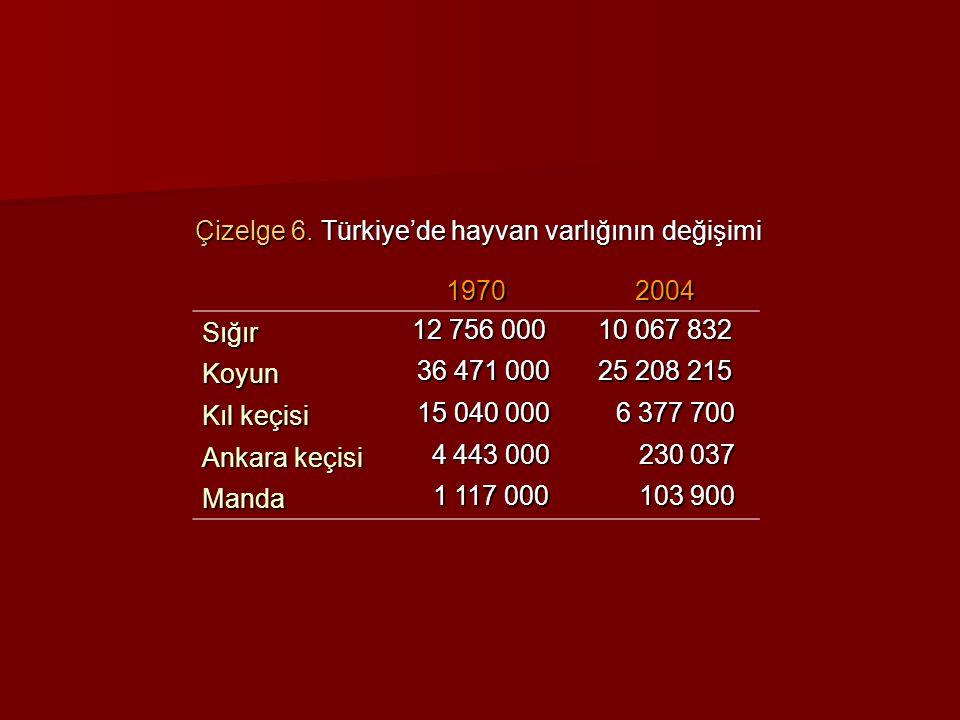 Çizelge 6. Türkiye'de hayvan varlığının değişimi